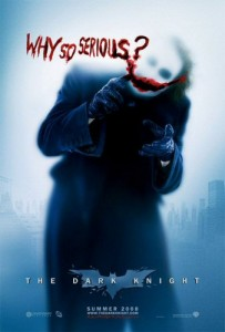 The 2008 movie poster for the first movie in the Dark Knight trilogy.